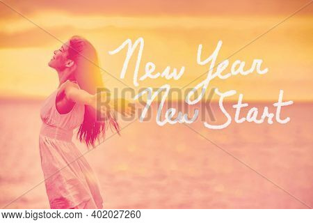 New Year New Start Resolution woman ready for life change for new year 2020 freedom. Text title handwritten NEW YEAR for losing weight.