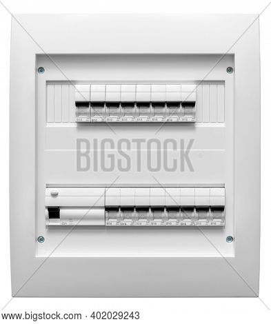 Home electrical distribution board with automatic fuses and RCD breaker