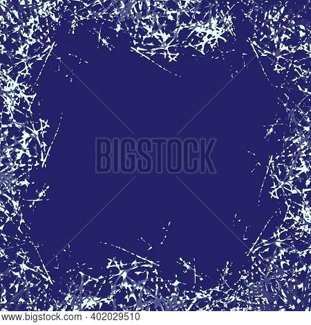 Stylized Ice Crystals Design Frame. Abstract Texture Freeze Window. Winter Holiday Background With F