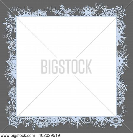 Winter Square Photo Frame With Snowflakes. Empty Holiday Ice Ornament Border Template On A Whole Lea