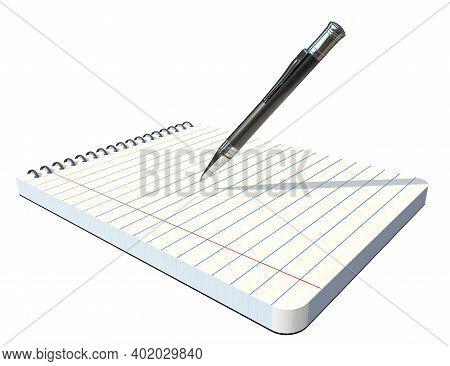 Notepad And Ballpoint Pen. Businnes Workspace. 3d Rendering