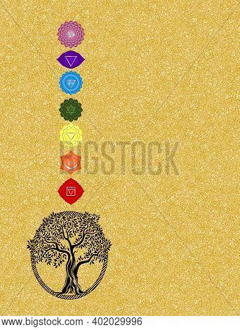 Spiritual Background With Chakras, Woman Silhouette And Mandala