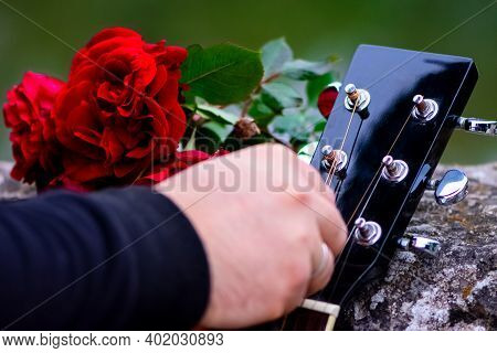 Closeup Of Guitar Headstock And Bouquet Of Red Roses On The Old Wall Outdoor. Mans Hand Holding The
