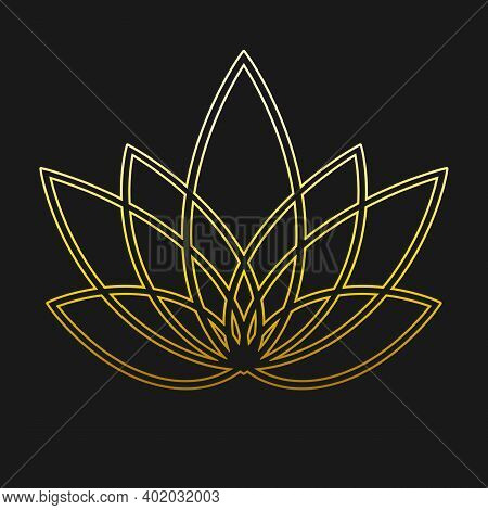 Linear Lotus Icon. Golden Flower Symbol On Black. Floral Label For Yoga Center, Spa, Beauty Salon. J