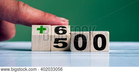 Hand Turn Wooden Block With Word 500+ And Change To 600+ (polish Government Assistance Program For C