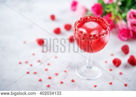 Red Valentine's Day Cocktail In A Glass