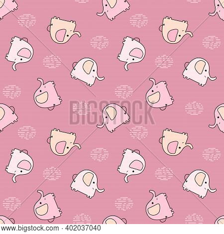 Seamless Pattern With Cute Multicolored Elephants On A Pink Background. Vector Baby Background Great