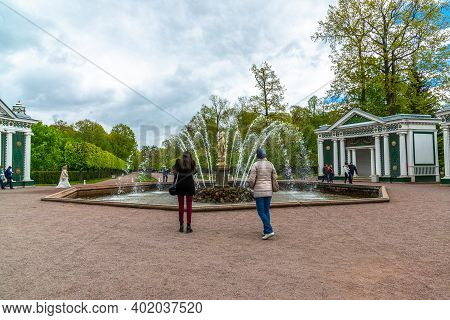 Peterhof, Russia - June 03. 2017. View Of Eva Statue In Fountain And Draft Arbor In Lower Park