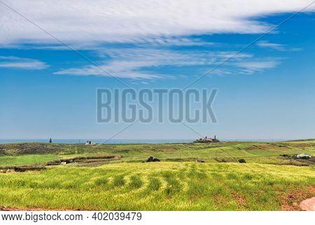 Algarve Coast landscape with green field under blue sky. Portugal