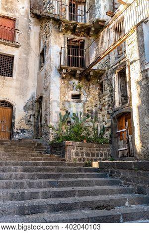 Old Abandoned Houses In A Staircase Road, Castiglione Di Sicilia, Ita