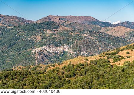 View Of Francavilla Di Sicilia And Surrounding Valley And Mountains