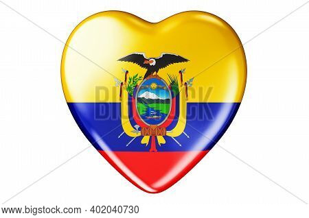 Heart With Ecuadorian Flag, 3d Rendering Isolated On White Background