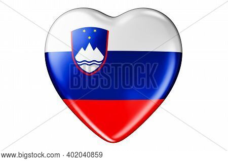 Heart With Slovenian Flag, 3d Rendering Isolated On White Background