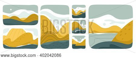 Set Of Various Abstract Landscapes. Mountains, Hills, Rivers, Landscapes, Backgrounds. Square Icons,