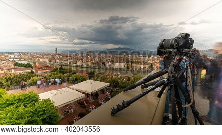 Piazzale Michelangelo / Florence / Italy - July 05, 2019: Photographers Positioned In The Square Wit