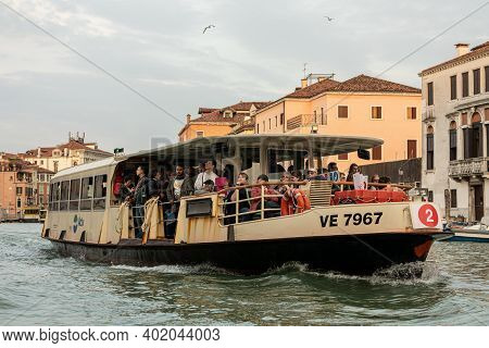 Piazza San Marco / Venezia / Italy - July 06, 2019: Tourists Enjoy The Ride On The Public Transport