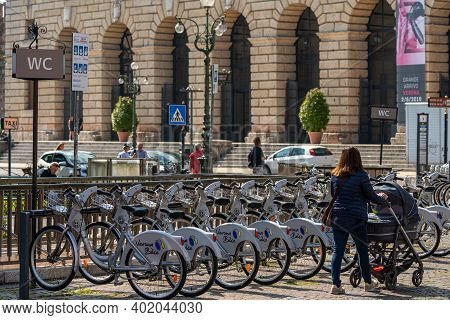 Piazza Bra / Verona / Italy - July 07, 2019: Bike Rack With Some Bikes For Rental Service At Piazza