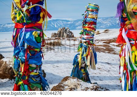 Color Shot Of Shamanic And Buddist Pray On The Olkhon Island On The Baikal Lake, In Russia. View Of