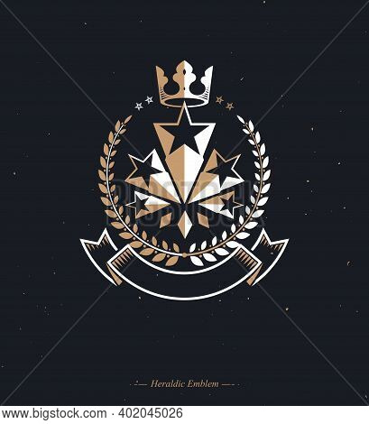 Military Star Emblem Decorated With Royal Crown And Laurel Wreath. Heraldic Vector Design Element, 5