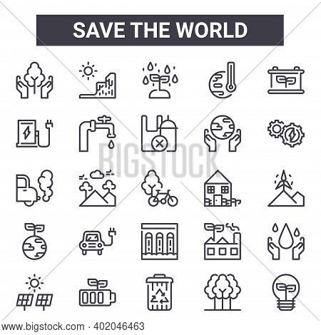 Save The World Outline Icon Set. Includes Thin Line Icons Such As Save Plants, Fuel Station, House,
