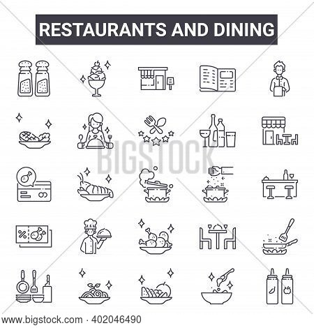 Restaurants And Dining Outline Icon Set. Includes Thin Line Icons Such As Salt And Pepper, Steak, Sp