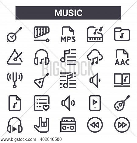 Music Outline Icon Set. Includes Thin Line Icons Such As Banjo, Triangle, Low Volume, Play, Rewind,