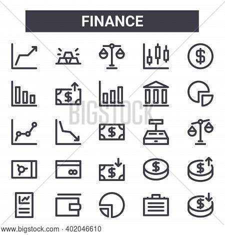 Finance Outline Icon Set. Includes Thin Line Icons Such As Line Chart, Bar Chart, Cash Register, Coi