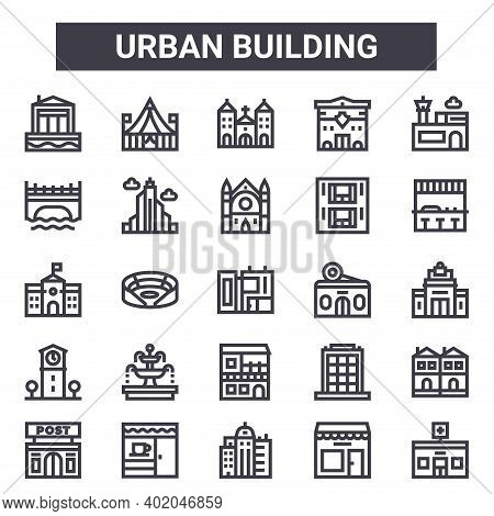 Urban Building Outline Icon Set. Includes Thin Line Icons Such As Maritime House, Bridge, Candy Shop