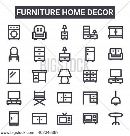 Furniture Home Decor Outline Icon Set. Includes Thin Line Icons Such As Washer Machine, Dining Chair