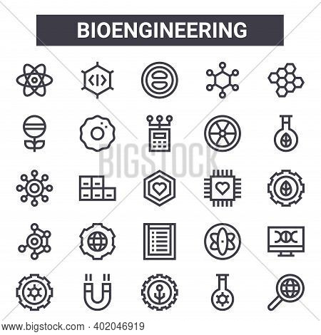 Bioengineering Outline Icon Set. Includes Thin Line Icons Such As Atom, Pill, Nanotechnology, Atom,