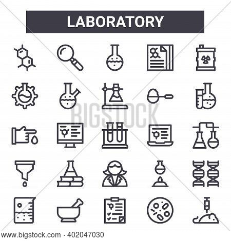 Laboratory Outline Icon Set. Includes Thin Line Icons Such As Molecules, Lab, Science, Flask, Petri