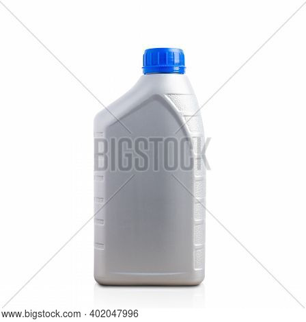 Gray Plastic Can Machine Lubricating Oil Bottle 1 Liter With A Blue Cap For Machine Engine Isolated