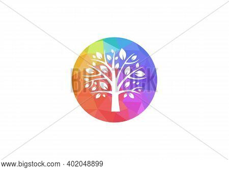 Tree Icon Logo. Teamwork People Tree Logo Vector