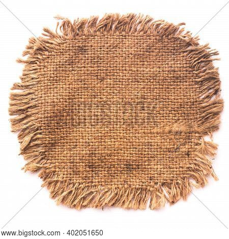 Piece Old Frayed Edges Of Fabric Cloth Texture Isolated On White Background