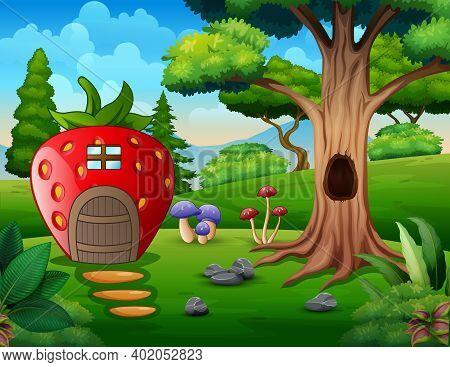 Cartoon Strawberry House Near The Hollow Tree