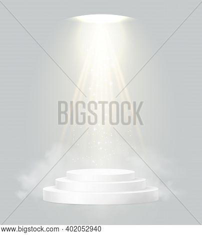 Cylinder Podium Scene, Winner Pedestal. White Cylinder Template For Showroom Podium Scene With Spotl