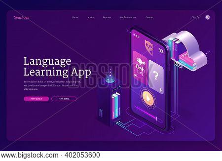 Language Learning App Banner. Mobile Online Education Service, Digital Training Foreign Languages. V