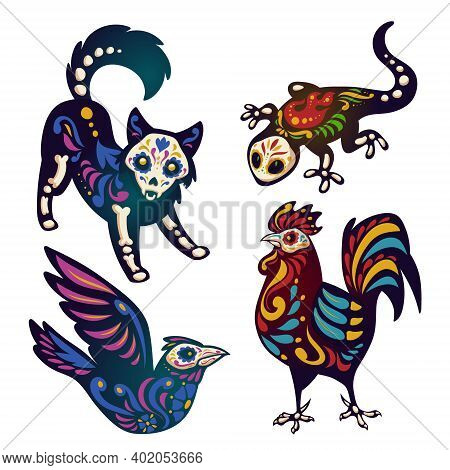 Dia De Los Muertos, Mexican Day Of Dead With Animals Skeletons. Vector Cartoon Set Of Black Dog, Bir