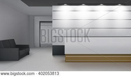 Reception Interior With Lift, Modern Foyer Room With Desk, Illumination, Couch And Elevator Door. Em
