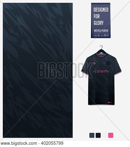 Fabric Pattern Design. Mosaic Pattern On Black Background For Soccer Jersey, Football Kit, Bicycle,