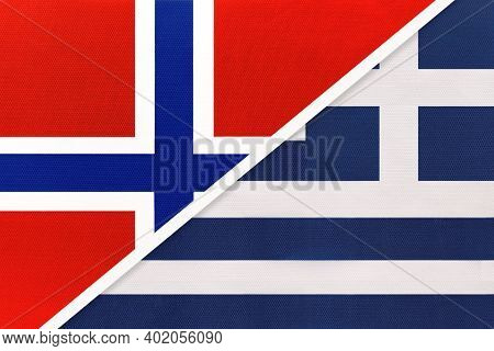 Norway And Greece Or Hellenic Republic, National Flags From Textile. Relationship, Partnership And M