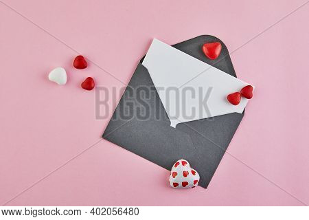 Valentines Day Greeting Card With Candy Hearts On Pink Background. Top View With A Place For Your Gr