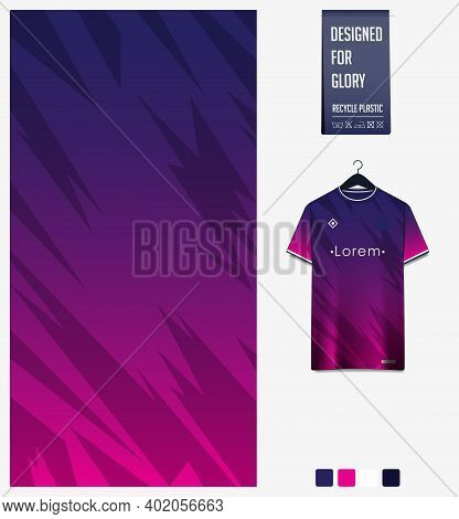 Fabric Pattern Design. Mosaic Pattern On Blue Violet Background For Soccer Jersey, Football Kit, Bic