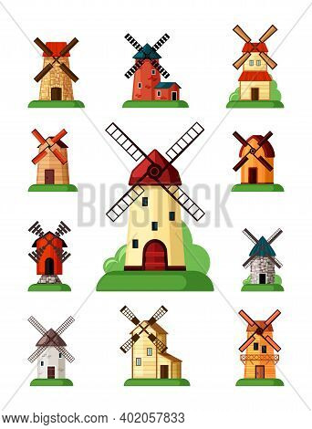 Retro Windmills Set. Buildings For Grinding Flour Traditional Holland Farming Old Equipment Bakeries