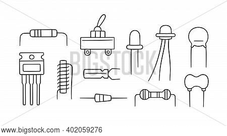 Electrical Components. Set Of Diode, Transistor Capacitor, Resistor, Inductor. Hand Drawn Vector Ill