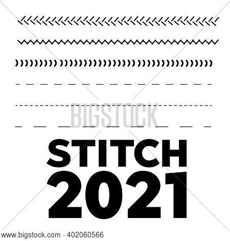 Softball, Baseball Red Lace. Sewing Machine Stitches Zig Zag Line