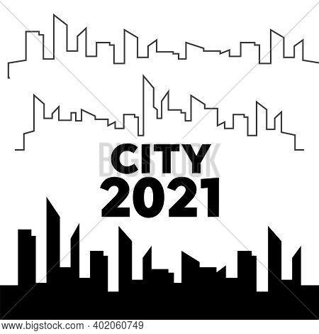 Cities Silhouette. City Landscape Template. Thin Line City Landscape