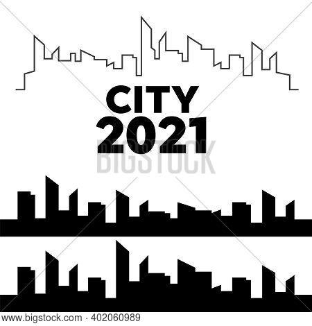 Cityscapes Silhouettes Vector. City Landscape Template. Thin Line City Landscape