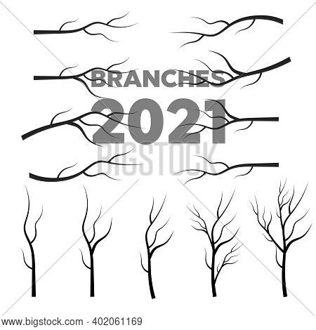 Black Silhouette Of A Bare Tree. Leaves, Swirls And Floral Elements