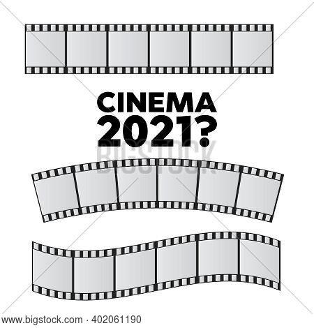 Slide Film Frame Set. Film Reel And Roll 35Mm Vector